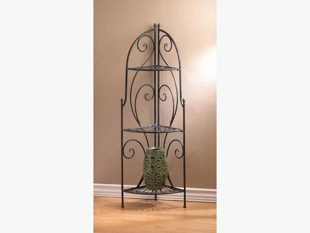 Decorative Metal Corner Rack Curio Shelf With 3 Shelves New Versatile