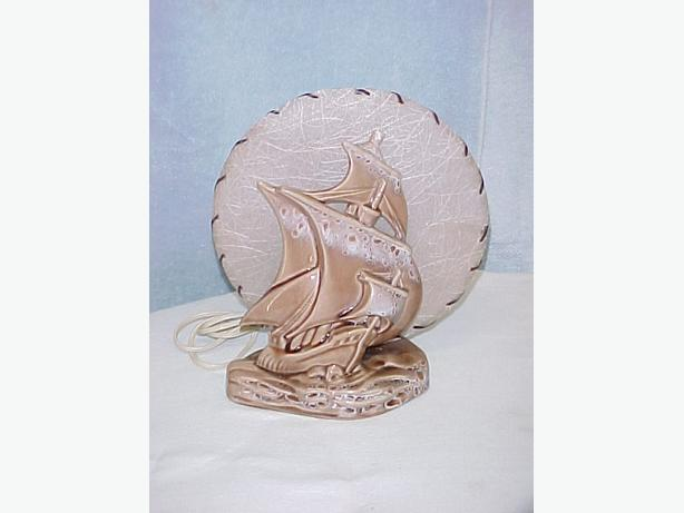 Rare Original Art Deco Beauceware Galleon Sailing Ship TV Lamp