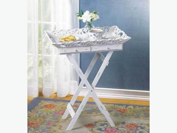 Shabby Elegant Cottage Chic Folding White Wood TV Tray Stand With Drawers New