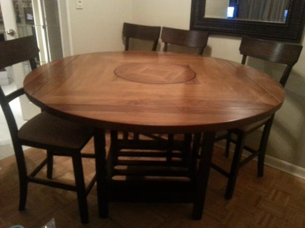Counter Height Table And Chairs For Sale : Bar height adjustable solid wood dining room table and chairs ...