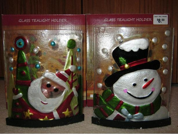 BRAND NEW! 2 Christmas Tea Light Candle Holders