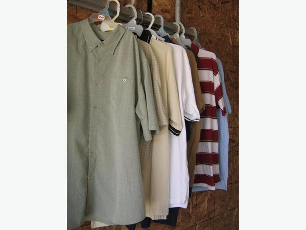 Mens large dress shirts and golf shirts.