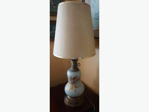 4U2C MID CENTURY GREEN LAMP WITH GOLD LEAF AND BRASS BASE