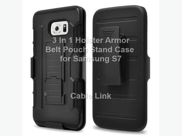 3 in 1 Rugged Armor Hybrid Holster Pouch Case for Samsung S7