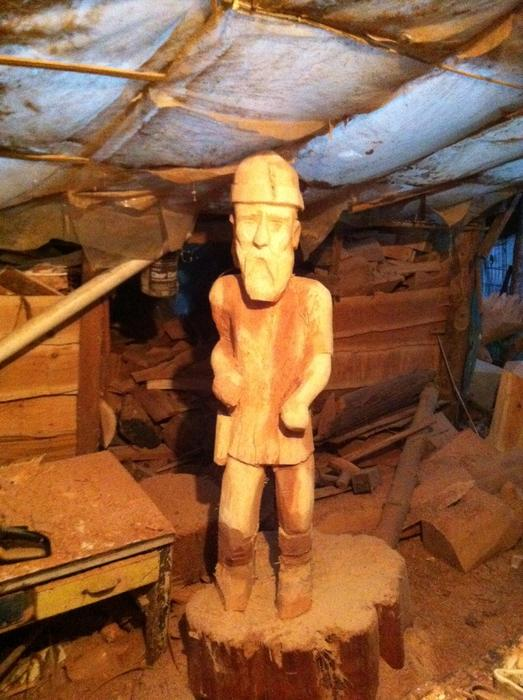 Chainsaw carved viking outside metro vancouver