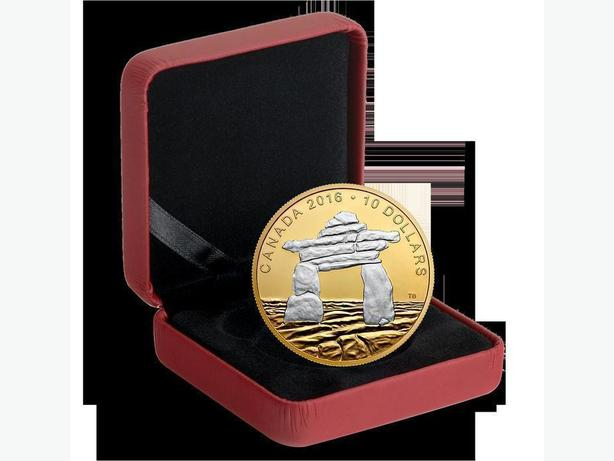 Canada Gold Plated Pure Silver Coin, Iconic Canada Inukshuk