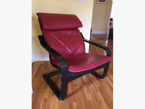 Red leather ikea poang chair victoria city victoria for Ikea poang leather