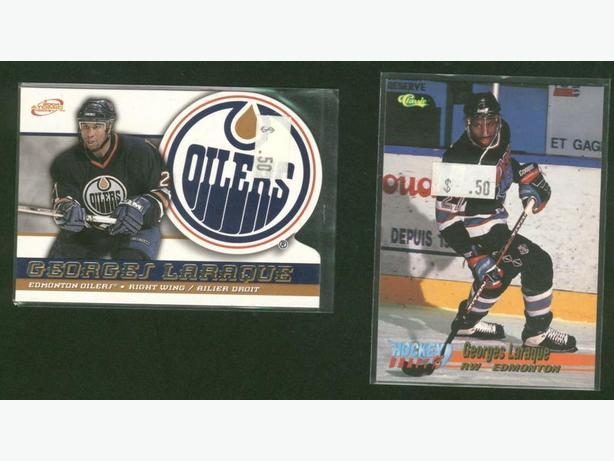 2 Georges Laraque Cards Oilers