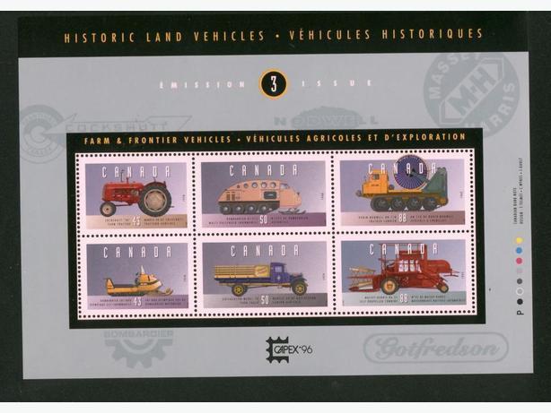 Canadian Stamps Souvenir Sheet Historic Land Vehicles