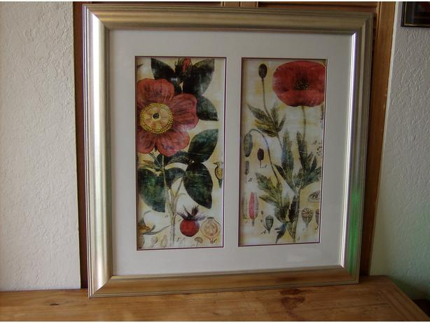 "Double Red Poppies Print..""New Price"""