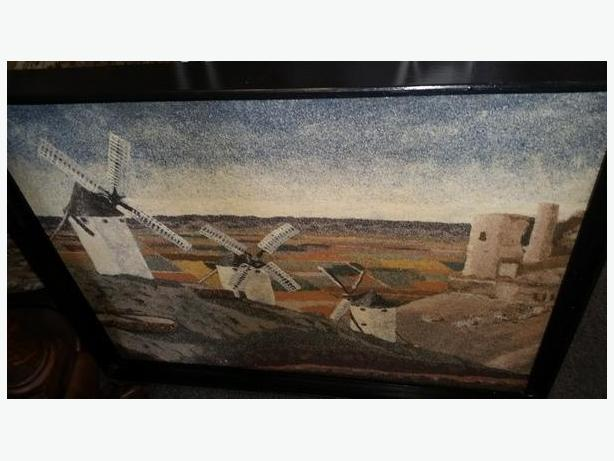 Sand paintings by local artist of Windmills in La Mancha & Cordoba