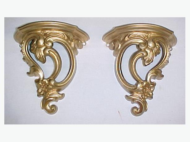 Set of (2) vintage SYROCO Gold Tone Scroll Design WALL SHELVES~Nice