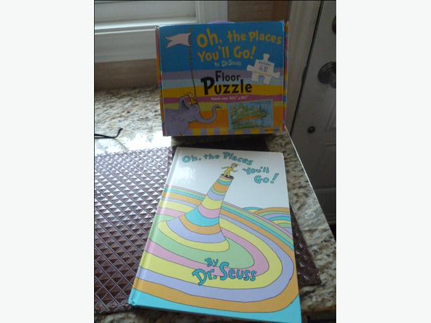 Oh, the Places You'll Go! Hardcover by Dr. Seuss & floor puzzle