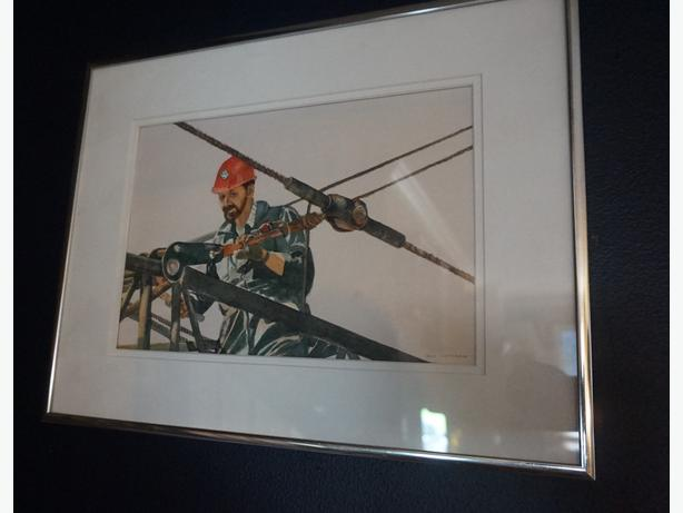 4U2C BILL COTTNAM WATER COLOR PAINTING CALLED RIGGING THE CRANE