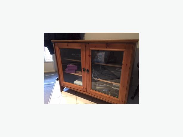 Ikea Leksvik Solid Pine Tv Cabinet With Glass Doors Cobble Hill