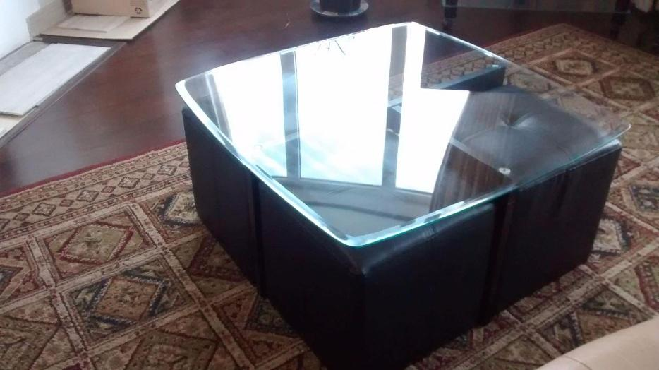 Glass coffee table with ottomans nepean ottawa Used glass coffee table
