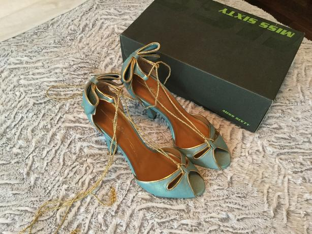 Miss Sixty, leather shoes, blue with gold, never worn, size 10
