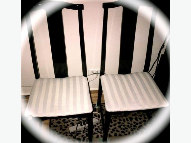 Chairs 4 DINING Table Chairs Black Laquer with a striped fabric