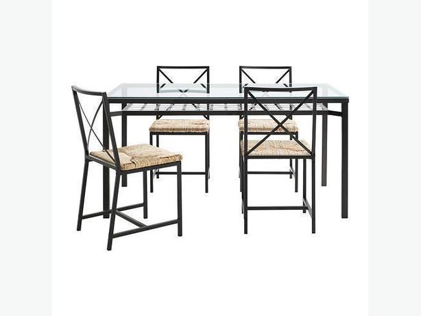 Dining Table GLASS Top with 4 Chairs