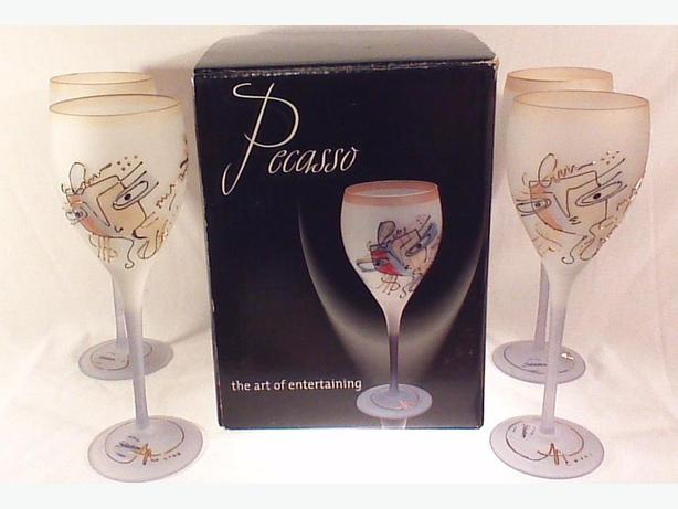Pecasso hand-painted wine glasses