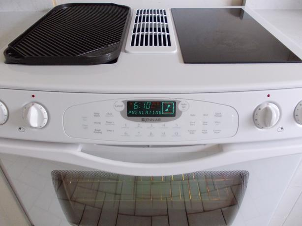 Stove With Griddle In The Middle ~ Jenn air white stove with grill central ottawa inside