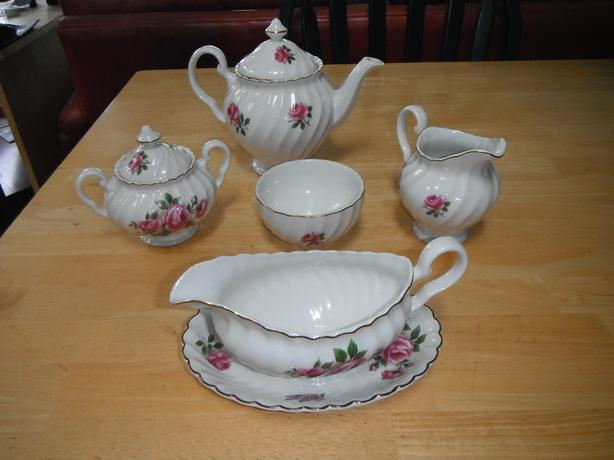 6 pce. Johnson Brothers Ironstone tea set with gravy boat set