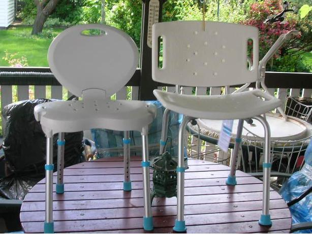 2 LIKE BRAND NEW AQUASENSE ADJUSTABLE BATH OR SHOWER CHAIRS FOR SALE