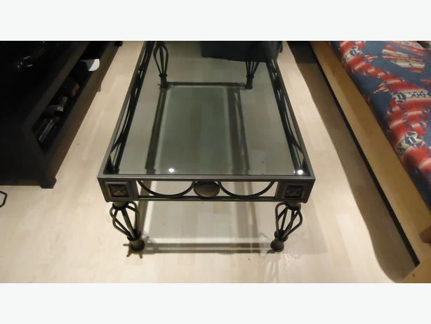 WROUGHT IRON FANCY COFFEE TABLE C/W 2 MATCHING END TABLES
