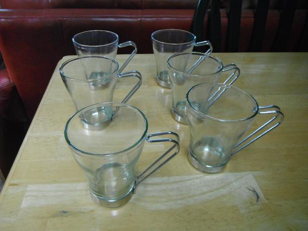 set of 6 glass & alloy handles hot drink cups- N. Duncan
