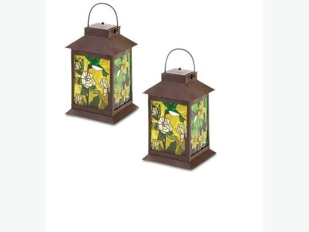 Solar Lantern With Stained Glass Panels Set of 2 Brand New