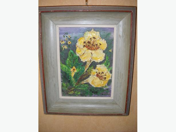 4U2C VINTAGE OIL ON BOARD YELLOW FLOWERS