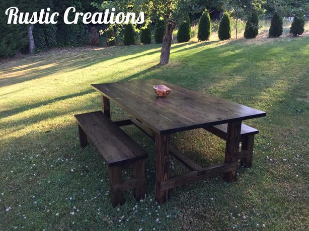 Rustic Farmhouse Table and Benches