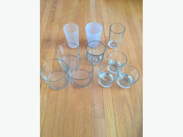 10 glass candle / votive holders