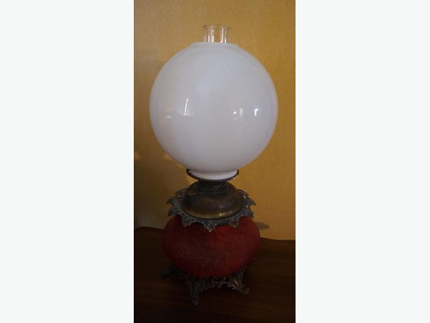 4u2c VICTORIAN SATIN RED PARLOR OIL LAMP WITH WHITE GLOBE SHAD