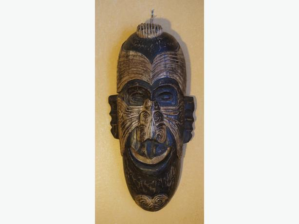 4U2C AFRICAN LONG FACE TRIBAL CARVED WOOD WALL HANGING