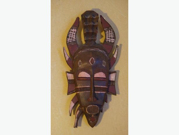 4U2C PAINTED TRIBAL AFRICAN MASK WITH SPIKES