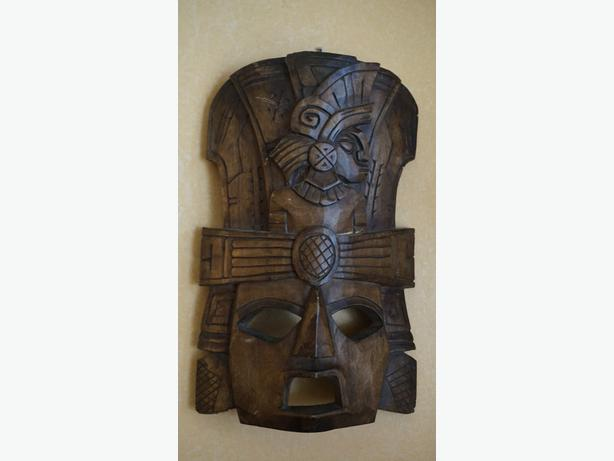 4U2C HAND CARVED WOOD TRIBAL MASK WITH LARGE CUT OUT EYES