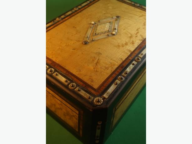 4U2C ANTIQUE BIRDS EYE MAPLE BOX WITH MOTHER OF PEARL AND SILVER