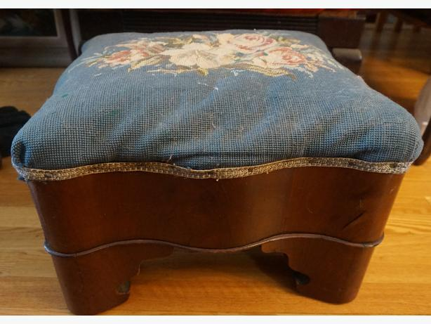 4U2C ANTIQUE ROSEWOOD STOOL WITH NEEDLE POINT COVERING
