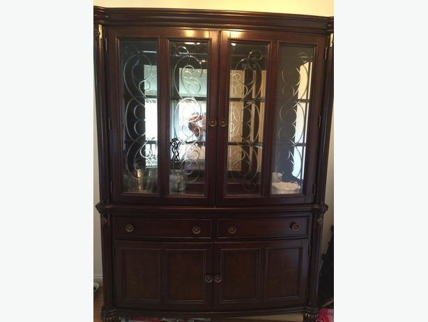 dinning table and glass hutch