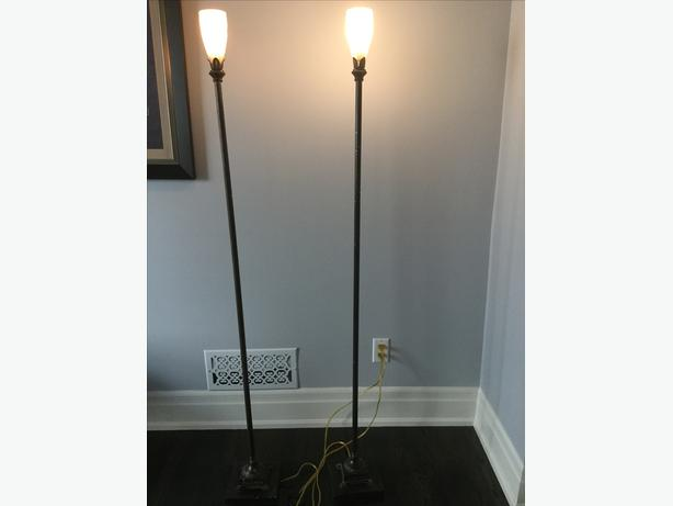 Torchiere Tulip Style Floor Lamp Set