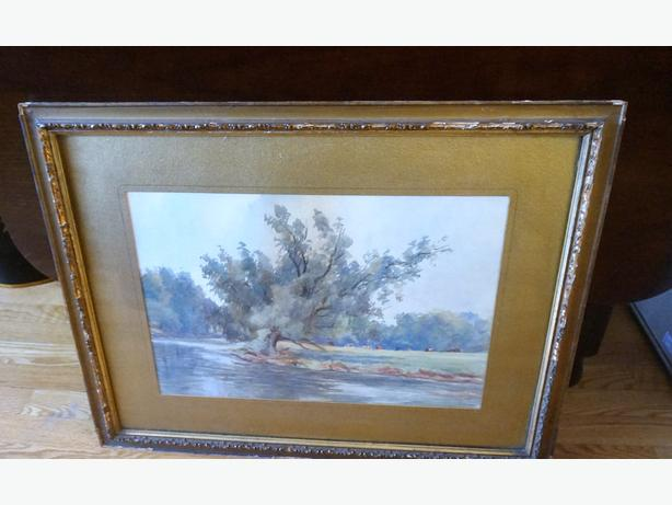 4u2c ANTIQUE WATER COLOR SIGNED M.H. HOLMESTED