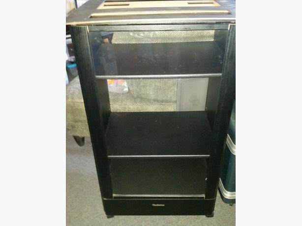 Black Technics Stereo Shelf Cabinet With Glass Door. A1 Cond.