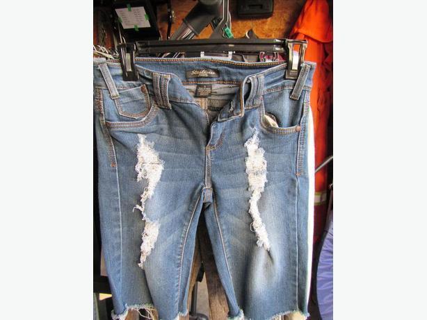 Longer Ripped Jean shorts size 3