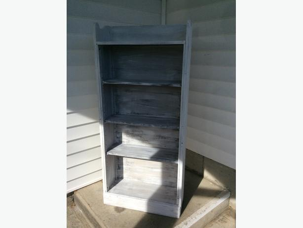 wooden (fir) vintage bookcase display cabinet