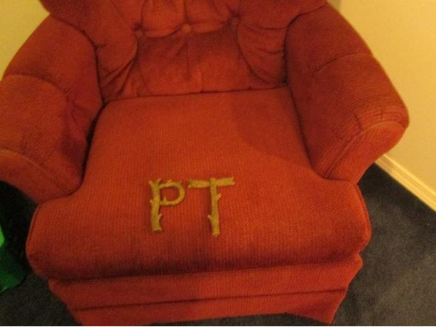 "Capital ""P"" and ""T"" initials.  Great for a rustic wedding."