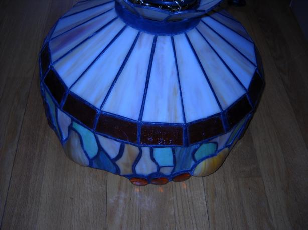 4U2C, VINTAGE LARGE STAINED LEAD GLASS LIGHT CHANDELIER WITH FRUIT