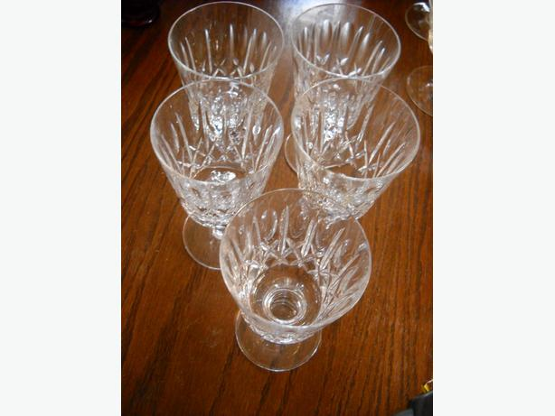 4U2C 5 SHORT STEMMED CRYSTAL WINE GLASSES, CROSS and OLIVE PATTERN