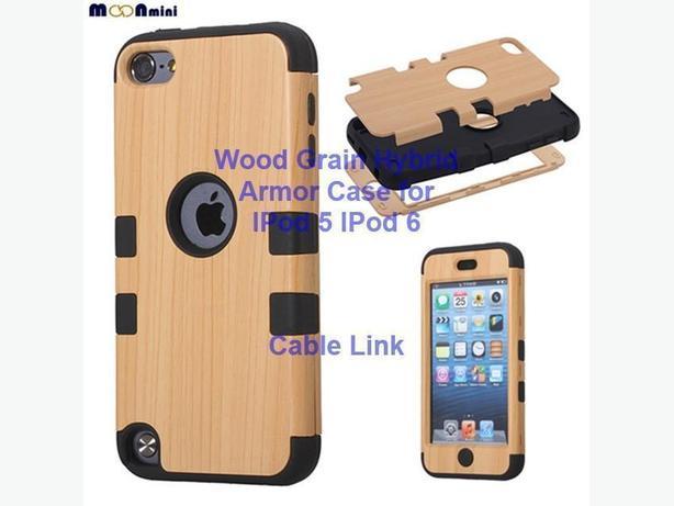 Unique Design Wood Grain Hybrid Defender Case for IPod 5, IPod 6