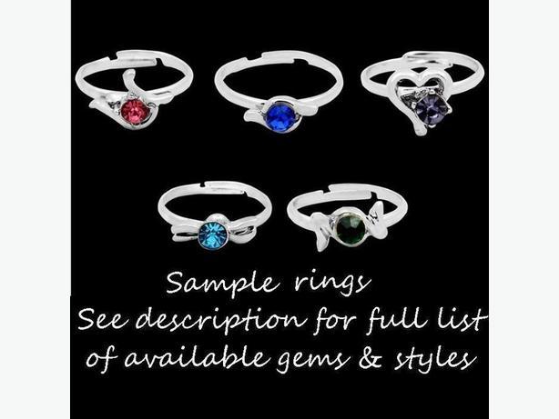 Brand New Children's Gem Silver Rings - $1 each ring
